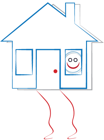 house with smiley face at window