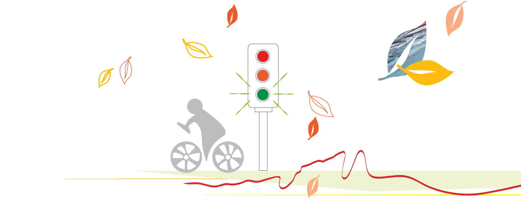 person on bike traffic lights graphic