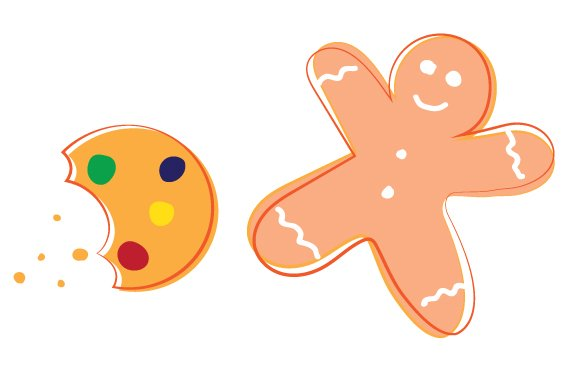 bitten cookie and gingerbread man